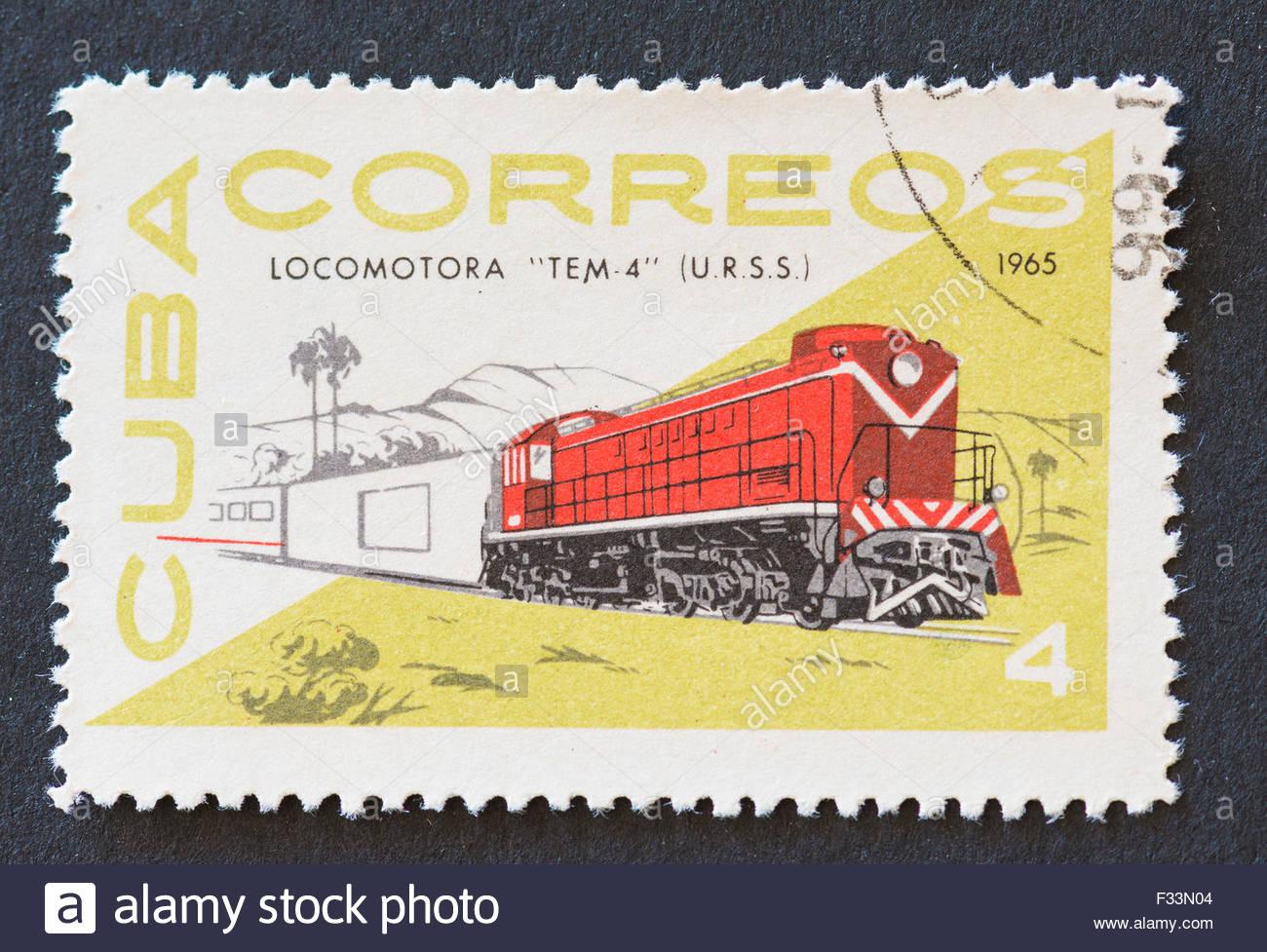 Cuban 1965 stamp from the 'Locomotora' series depicting the diesel locomotive 'TEM-4' of USSR. - Stock Image