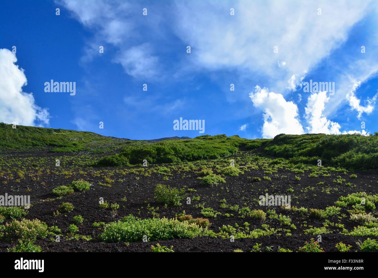Mount Fuji slope, foothill view. Japan. - Stock Image