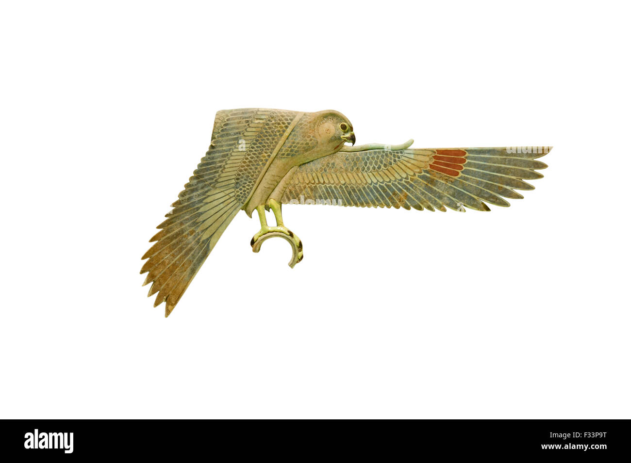 Inlay in the form of a falcon from  a shrine from ancient Egypt from the Ptolemaic Empire in Egypt during the Hellenistic - Stock Image