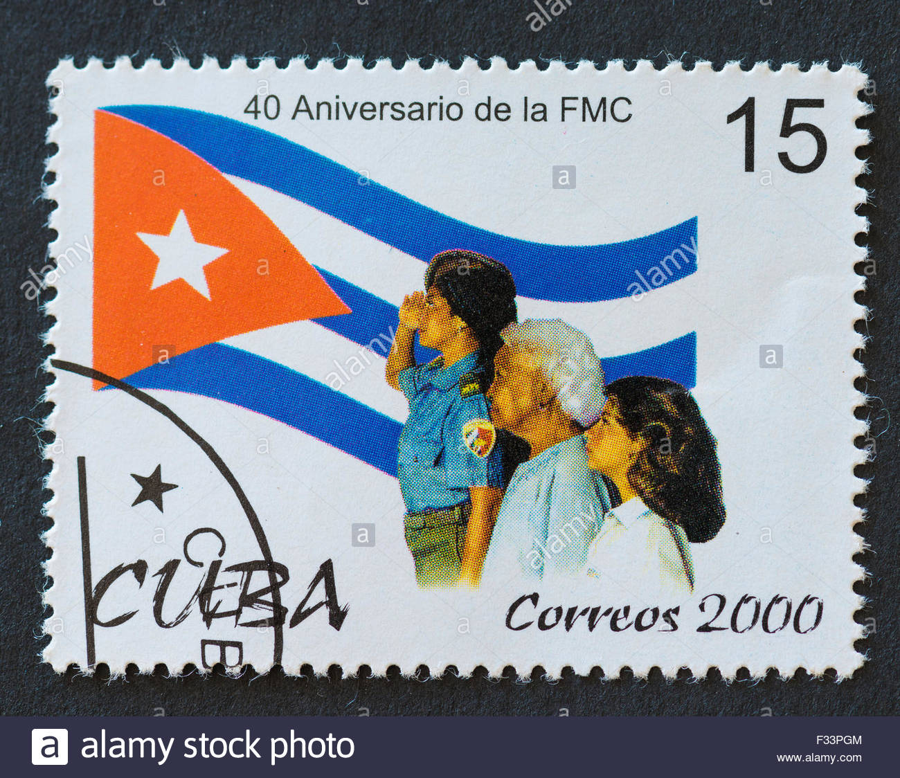 Cuban 2000 stamp commemorating the 40th anniversary of 'Federacion de Mujeres Cubanas' or 'The Federation - Stock Image