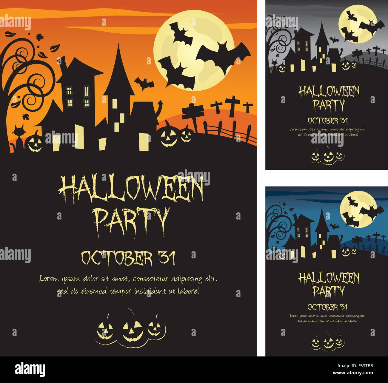 Halloween party invitation poster or card illustration design, text ...