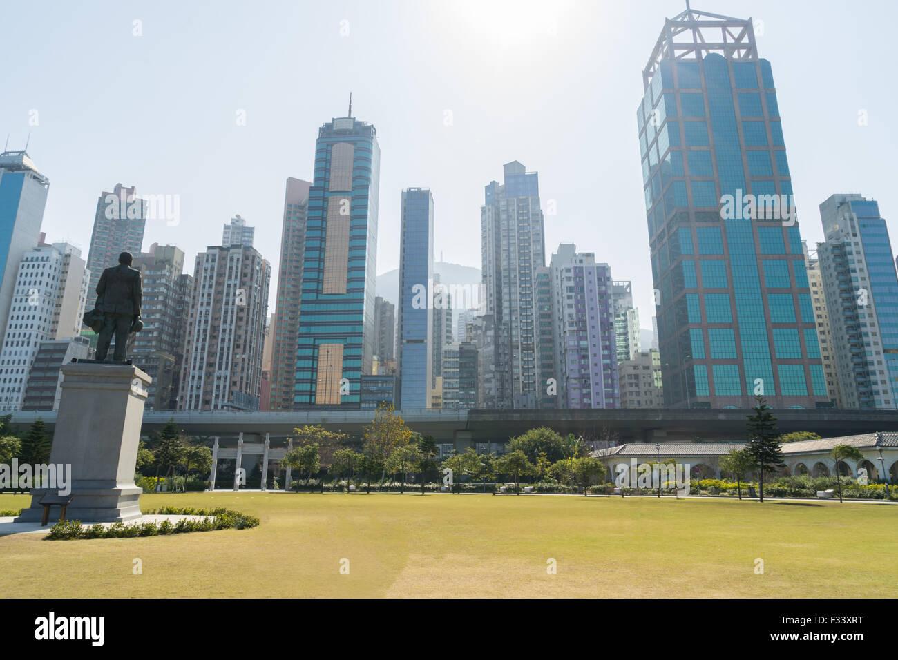 Cityscape from Sun Yat Sen Memorial Park in HongKong - Stock Image
