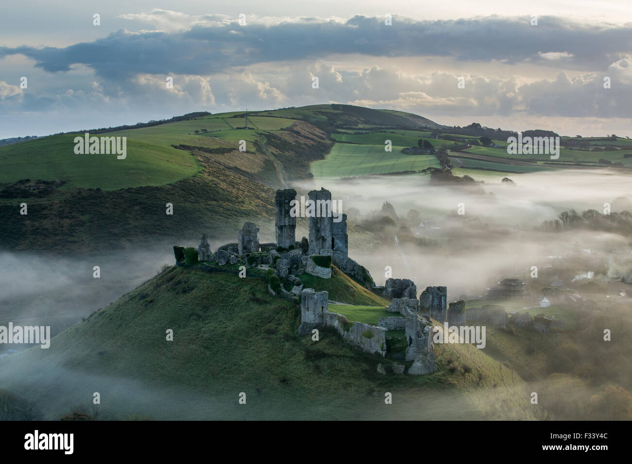 Corfe Castle in the mist, Corfe, Dorset - Stock Image