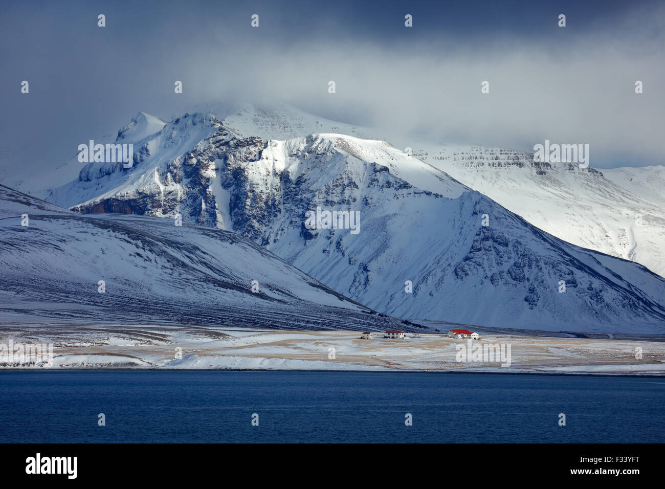 snowclad Bjarnarhafnarfjalll, Snaefellsness Peninsula, Iceland - Stock Image