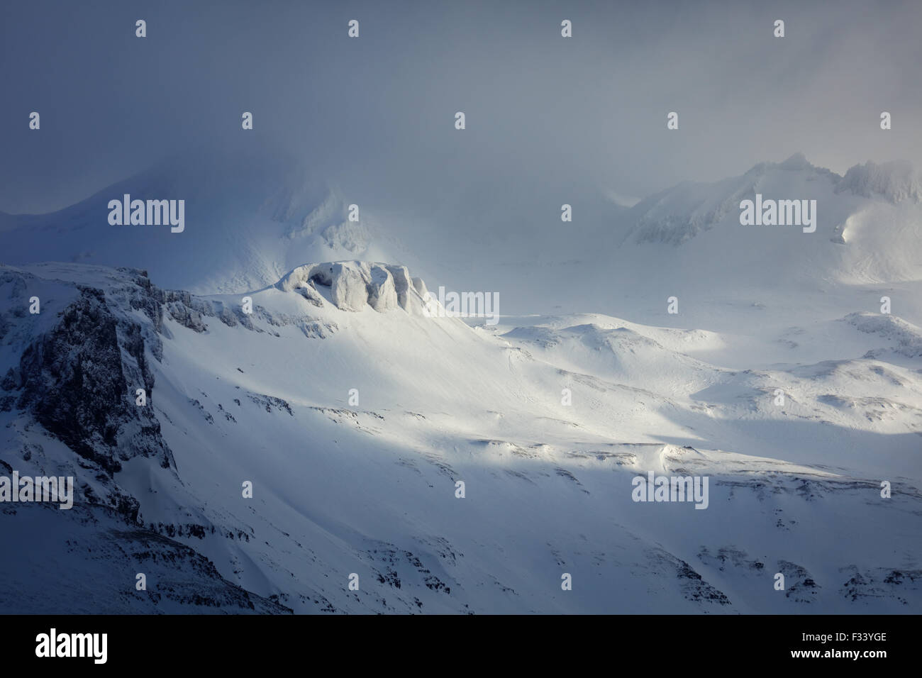 snowclad Trollatindar, Snaefellsness Peninsula, Iceland - Stock Image