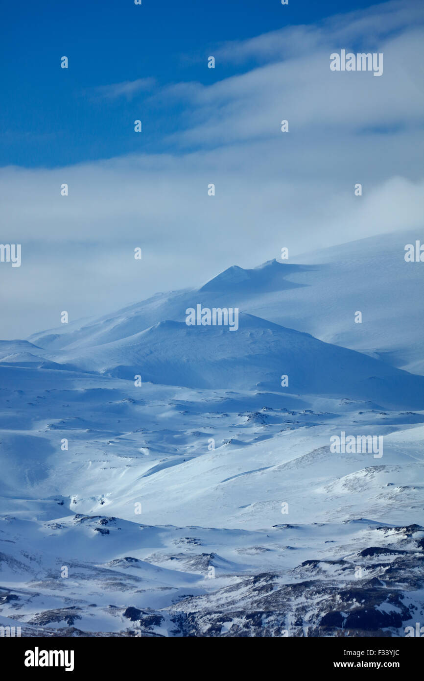 the Snæfellsjökull glacier, Snaefellsness Peninsula, Iceland - Stock Image