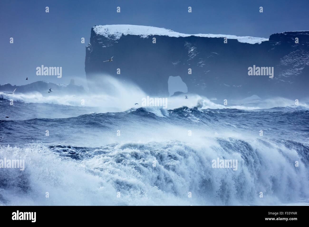 waves breaking on Reynisfjara with Dyrhólaey beyond, Iceland - Stock Image