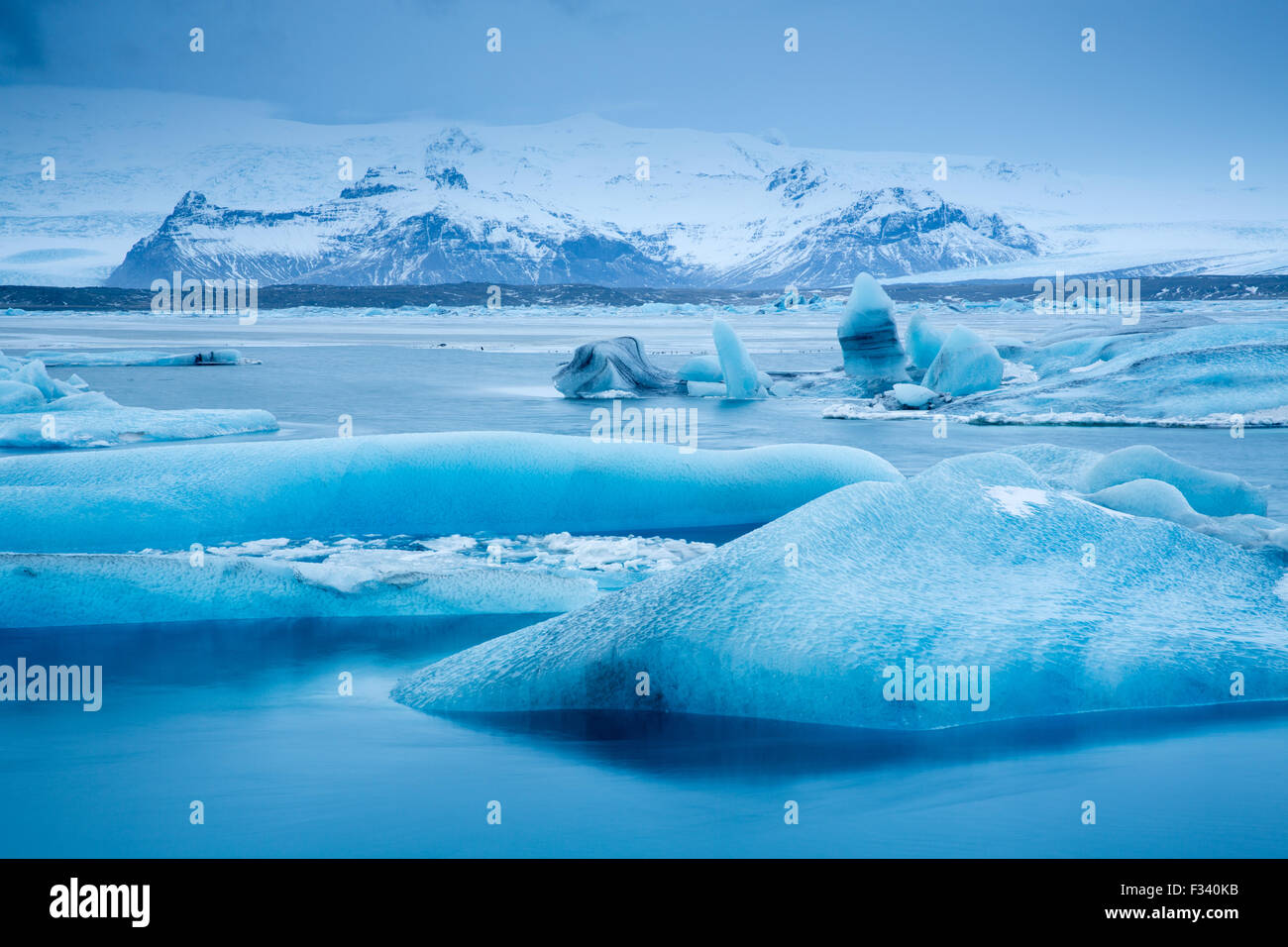ice in the galcial lagoon at Jökulsárlón, Iceland - Stock Image