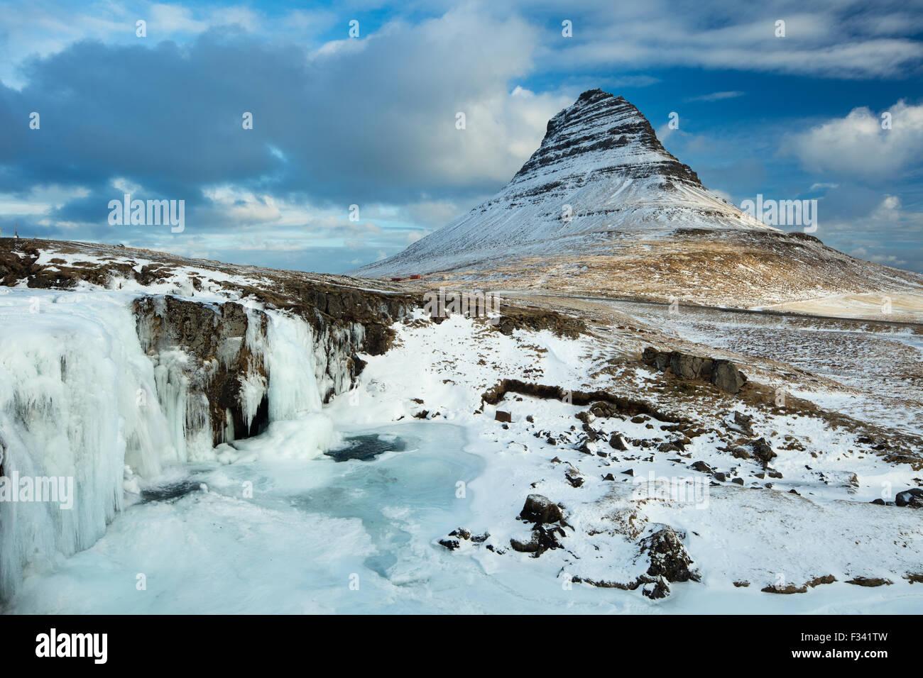 snowclad Kirkjufell, Snaefellsness Peninsula, Iceland - Stock Image