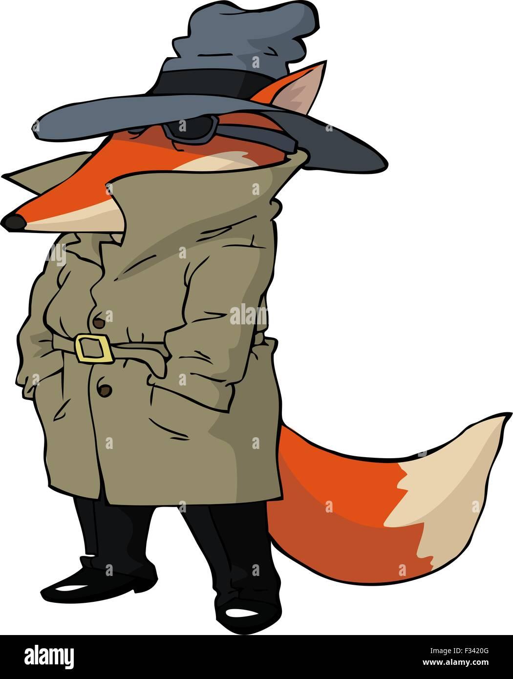 Spy fox on white background vector illustration - Stock Vector