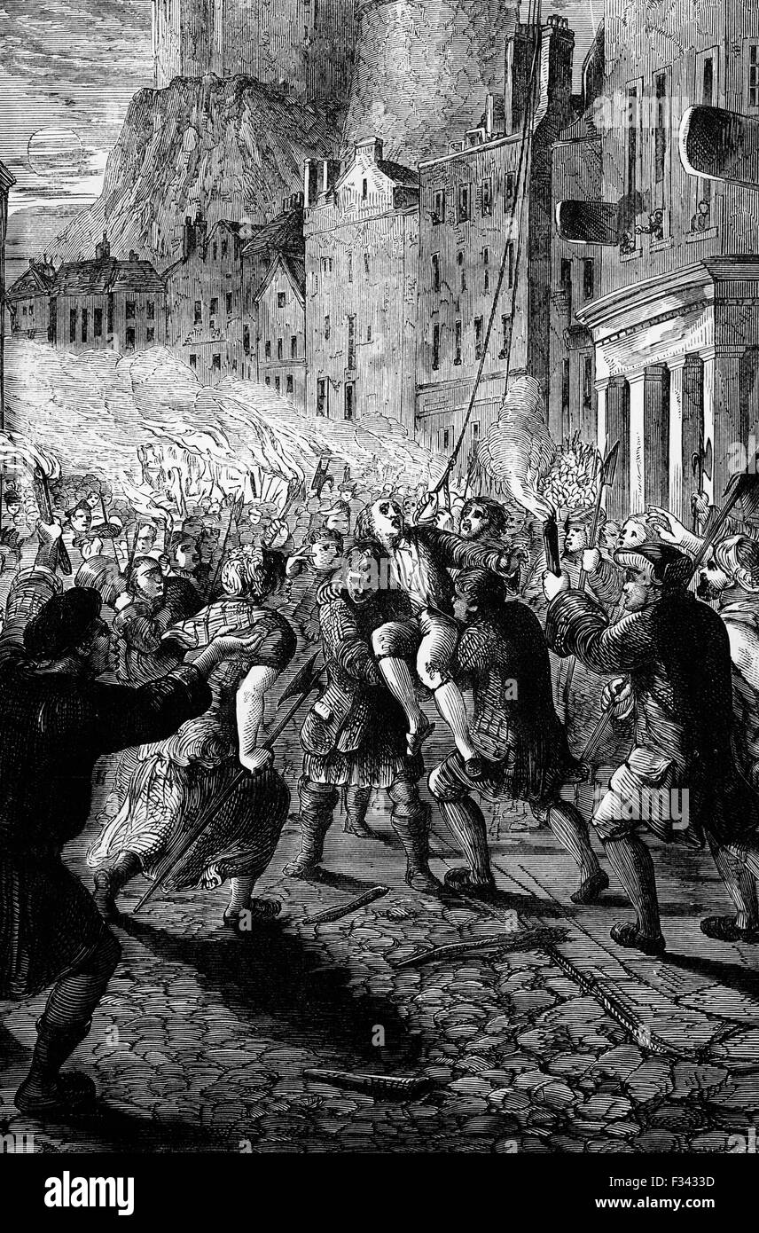 John Porteous, Captain of the City Guard of Edinburgh, over-reacted to riots causing death of 6 rioters. Arrested - Stock Image