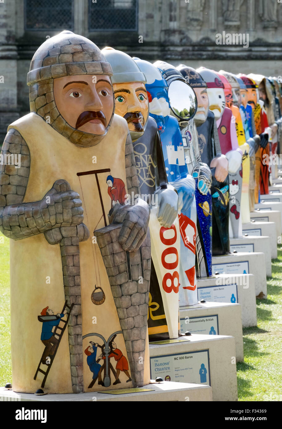 Salisbury Barons pictured outside Salisbury Cathedral. The Barons mark 800 years since the sealing of Magna Carta. - Stock Image