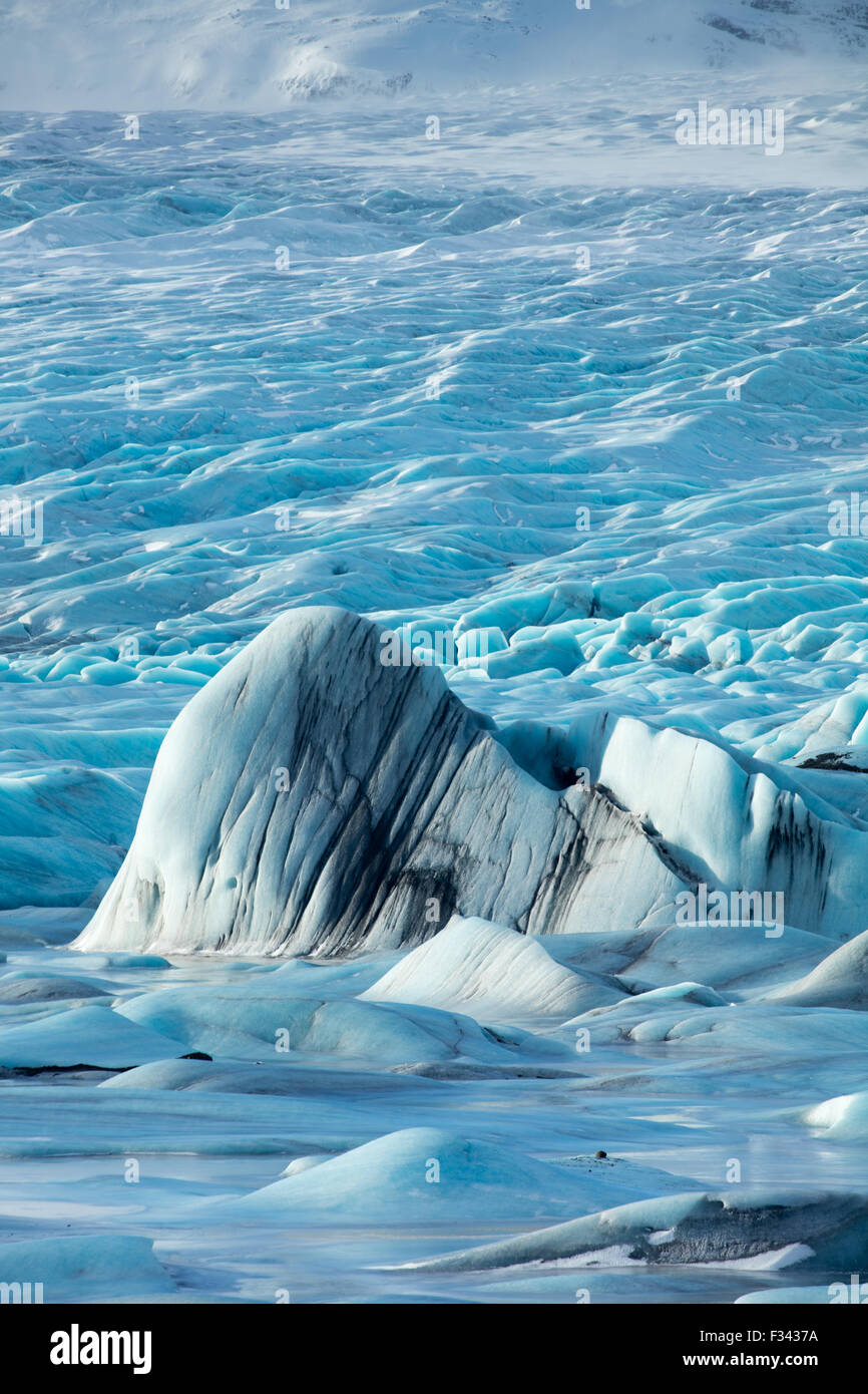 ice in the glacial laggon at Hoffelsjokull, eastern Iceland - Stock Image