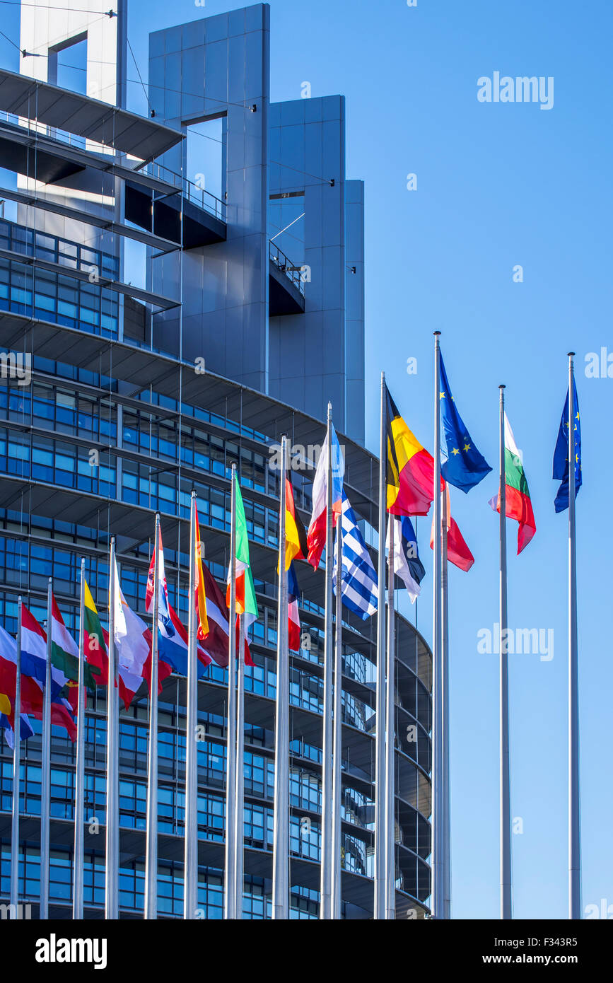 Flags of countries in Europe in front of the European Parliament / EP at Strasbourg, France - Stock Image