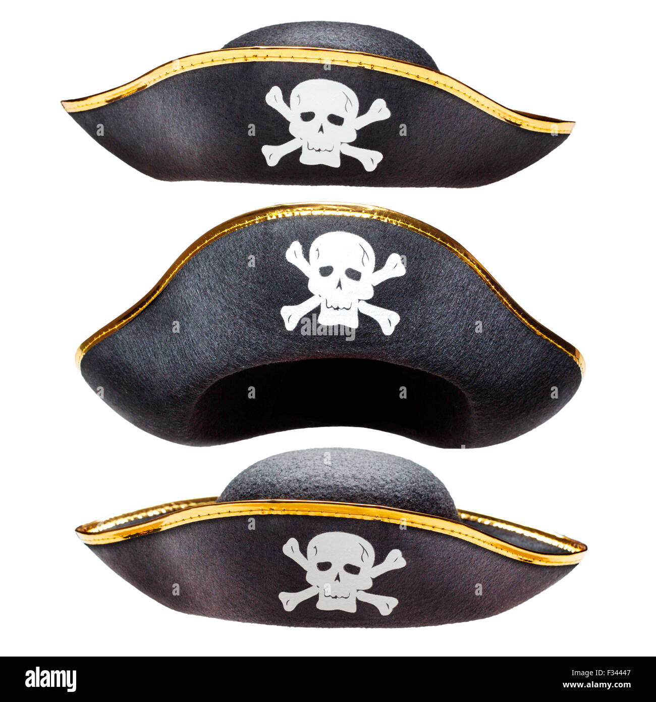 Pirate fancy dress hat with Jolly Roger - Stock Image