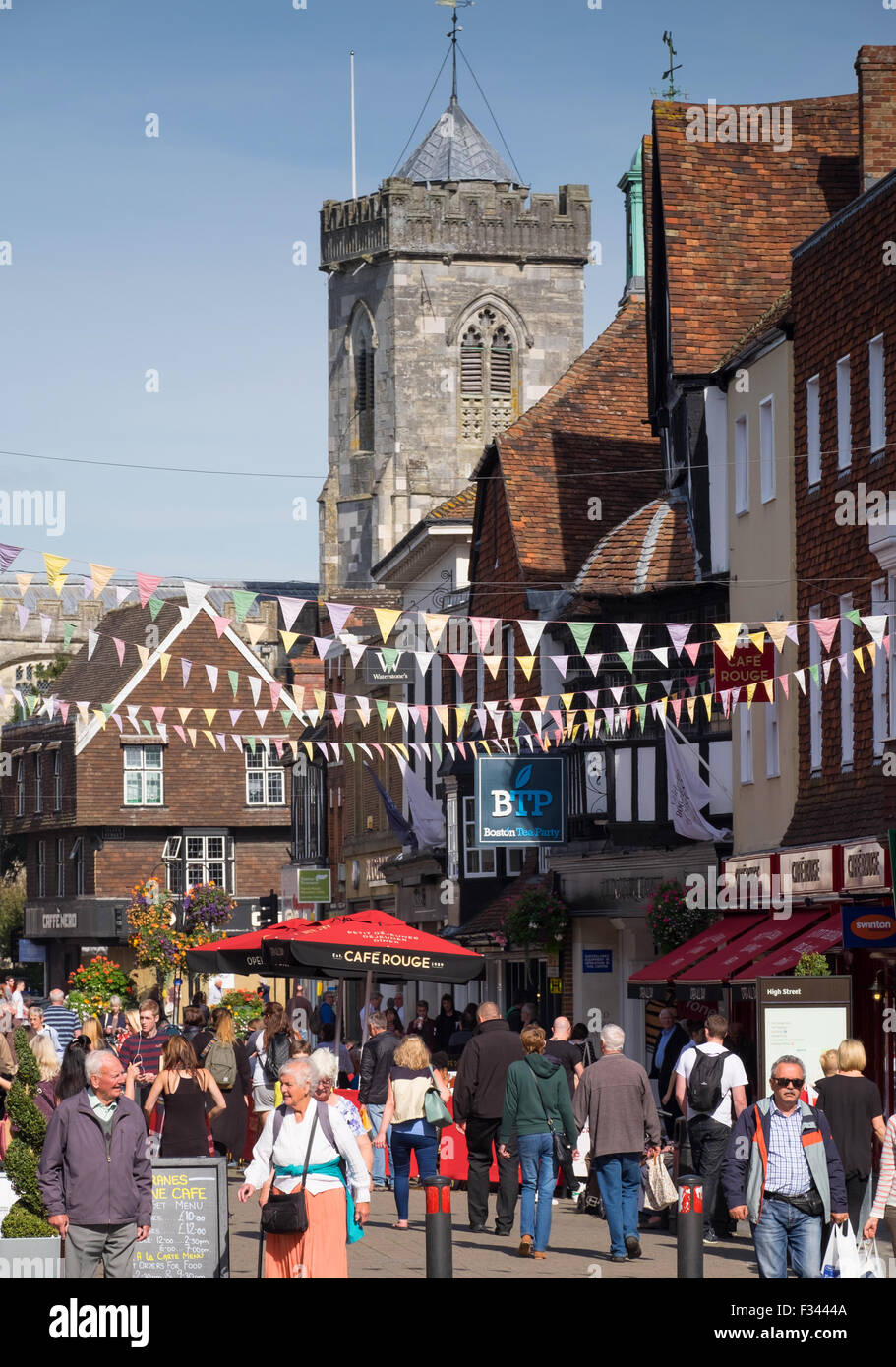 Shoppers in Salisbury High Street, Salisbury, Wiltshire, UK - Stock Image