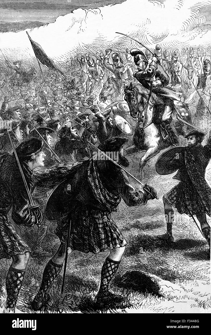 The Battle of Culloden, the final confrontation of the 1745 Jacobite Rising. On 16 April 1746, the Jacobite forces Stock Photo