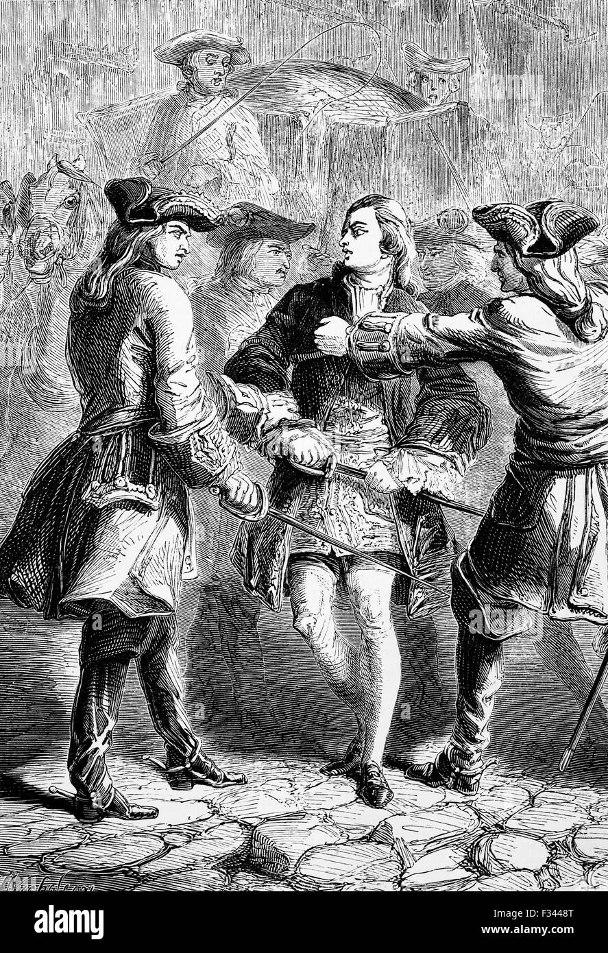 In 1748 Prince Charles, the Young Pretender was arrested and expelled from France under the terms of the Treaty - Stock Image