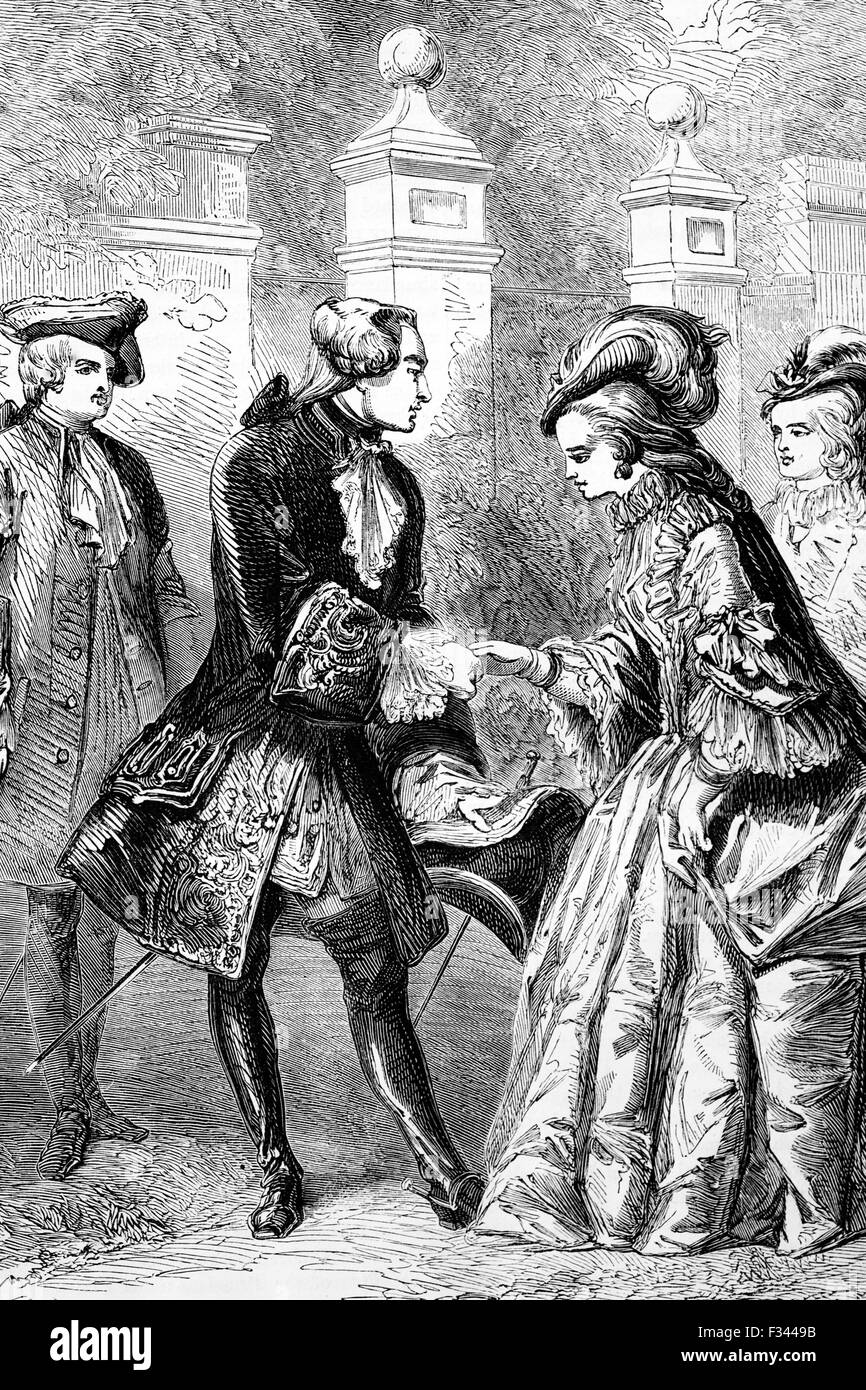 """In August 1761, King George III met - and two weeks later married Princess Charlotte of Mecklenburg-Strelit. The seventeen-year-old Princess appealed to him as a prospective consort partly because she had  no experience of power politics or party intrigues. He instructed her on her arrival in London """"not to meddle"""", a precept she was glad to follow. Stock Photo"""