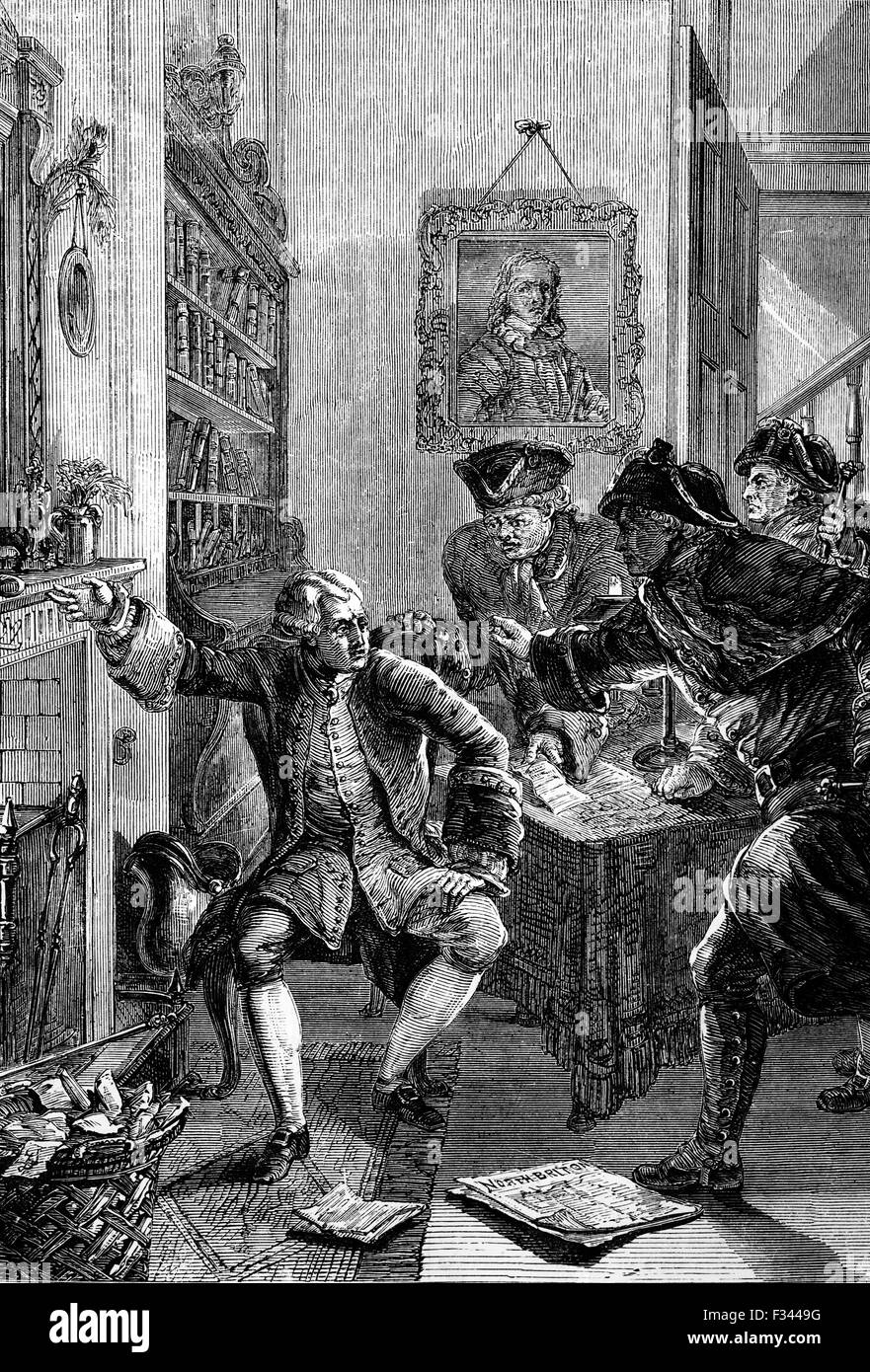 John Wilkes (1725 – 1797), an English radical, journalist, and politician, was threatened with arrest after satIrising - Stock Image