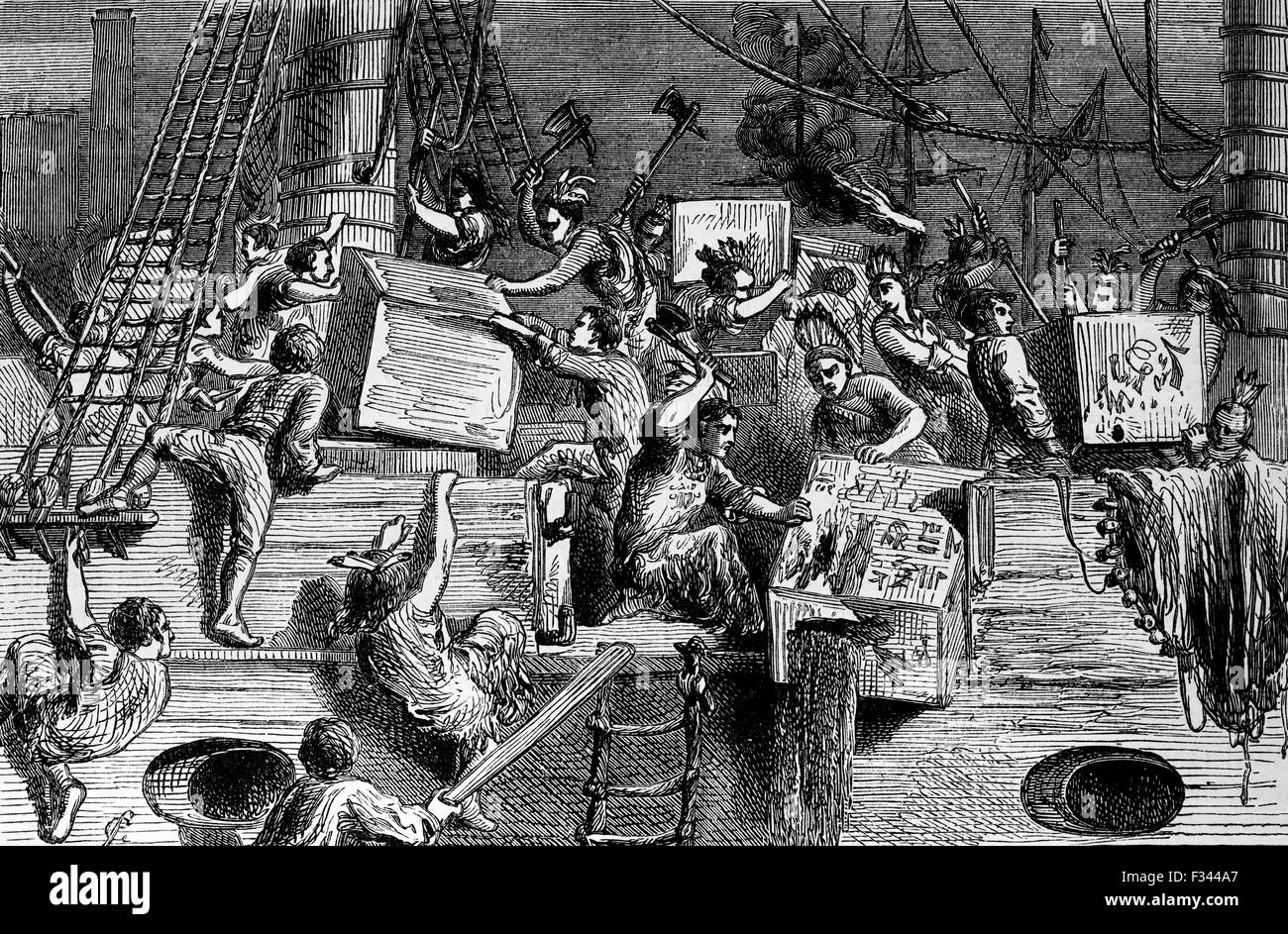 CONTROLLING EAST INDIA COMPANYThe Boston Tea Party was a political protest by the Sons of Liberty in Boston, in - Stock Image