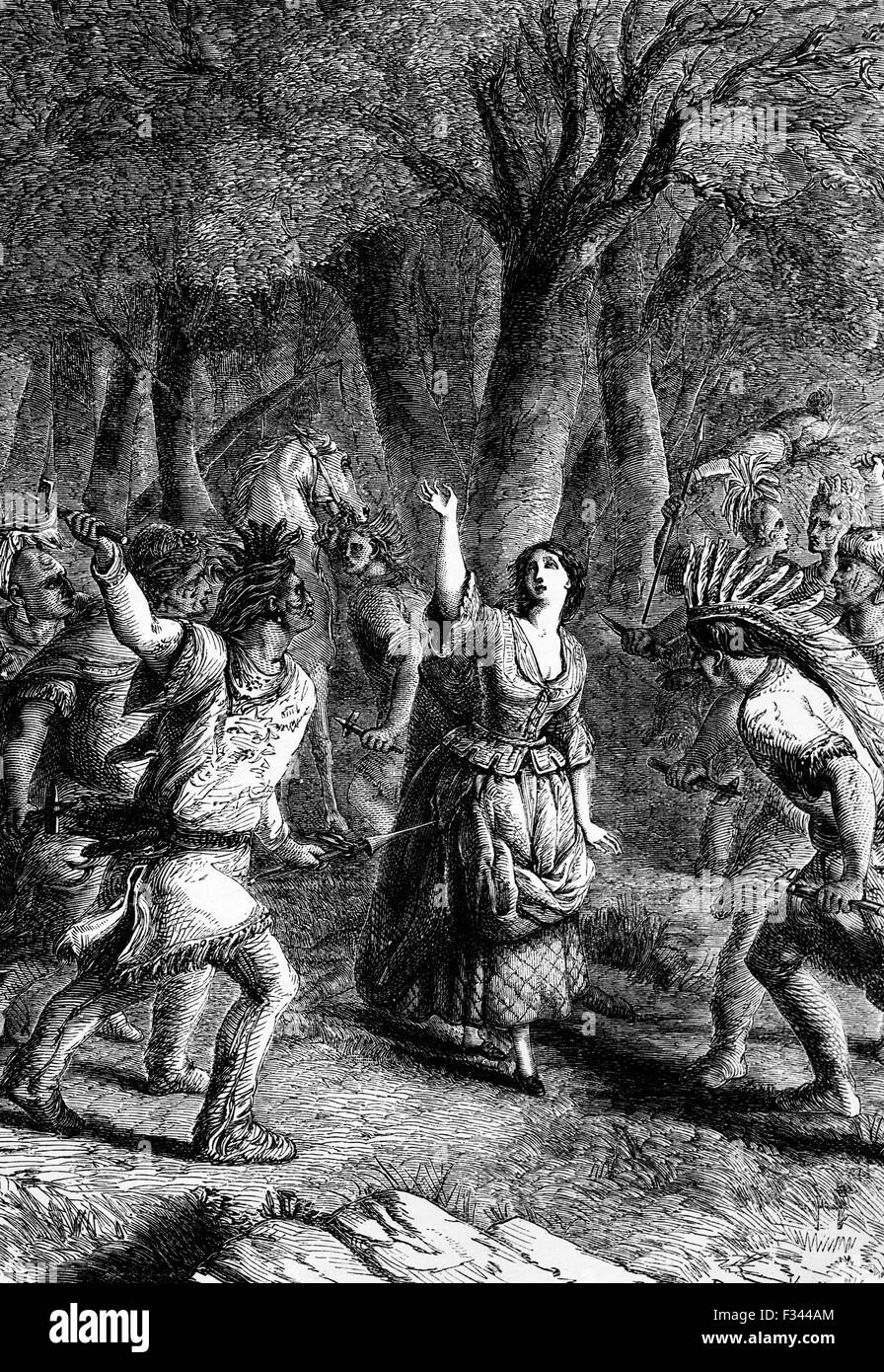 27July 1777: The abduction and murder of Jenny Macrea,  by Indians who accompanied General John Burgoyne on his - Stock Image