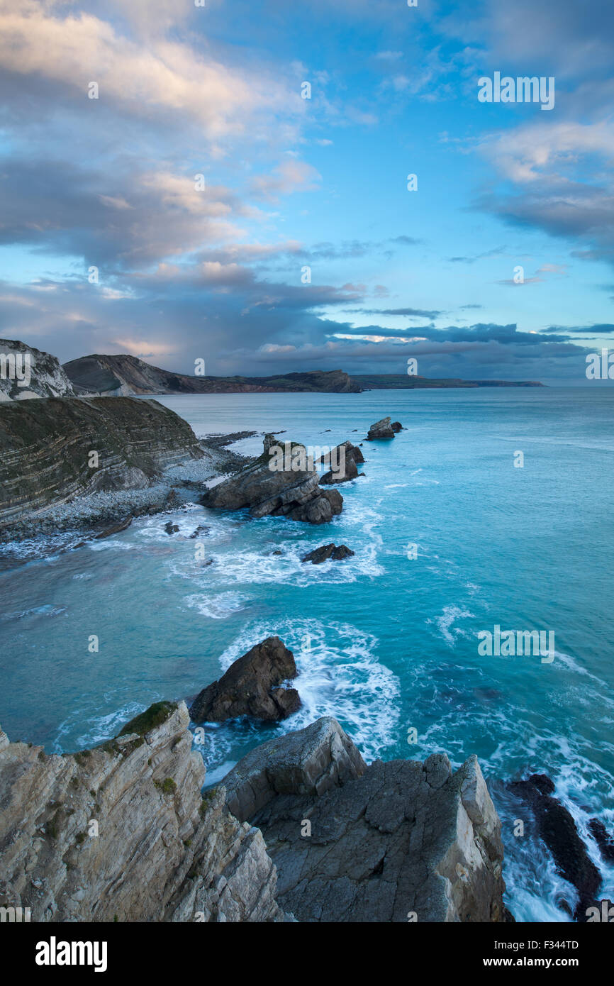 winter light on Mupe Bay, Jurassic Coast, Dorset, England - Stock Image