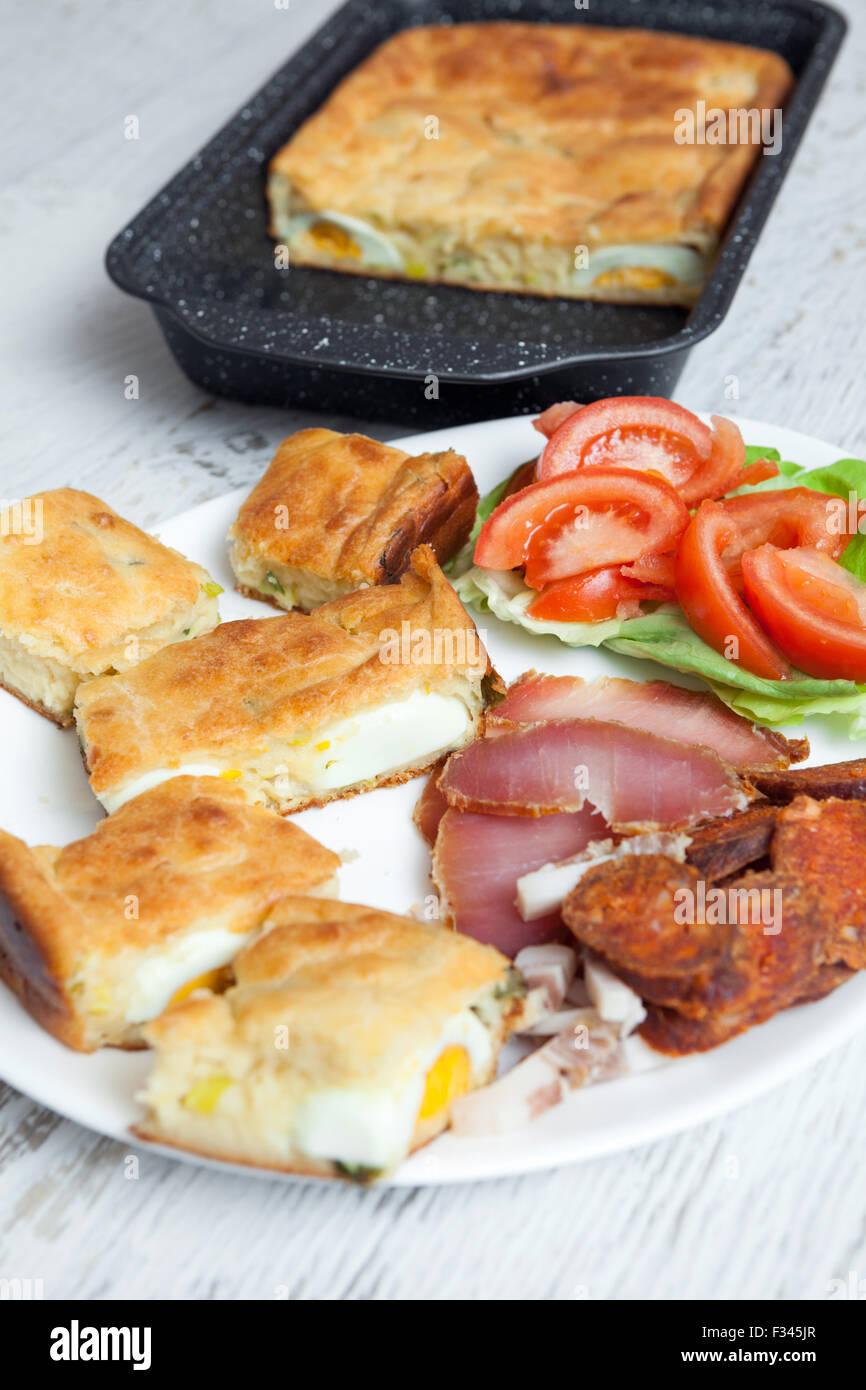 Homemade Egg Pie for TV Dinner - Stock Image