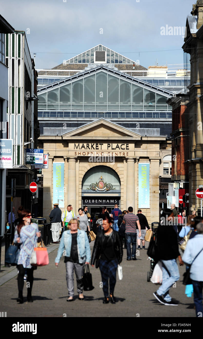 The Market Place shopping centre, Corporation Street, Bolton. Picture by Paul Heyes, Tuesday September 29, 2015. - Stock Image