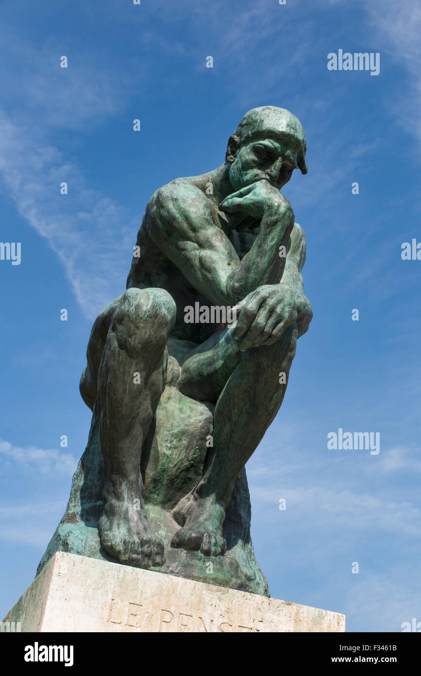Rodin's 'The Thinker' in the gardens of the Musee Rodin, Paris, France - Stock Image