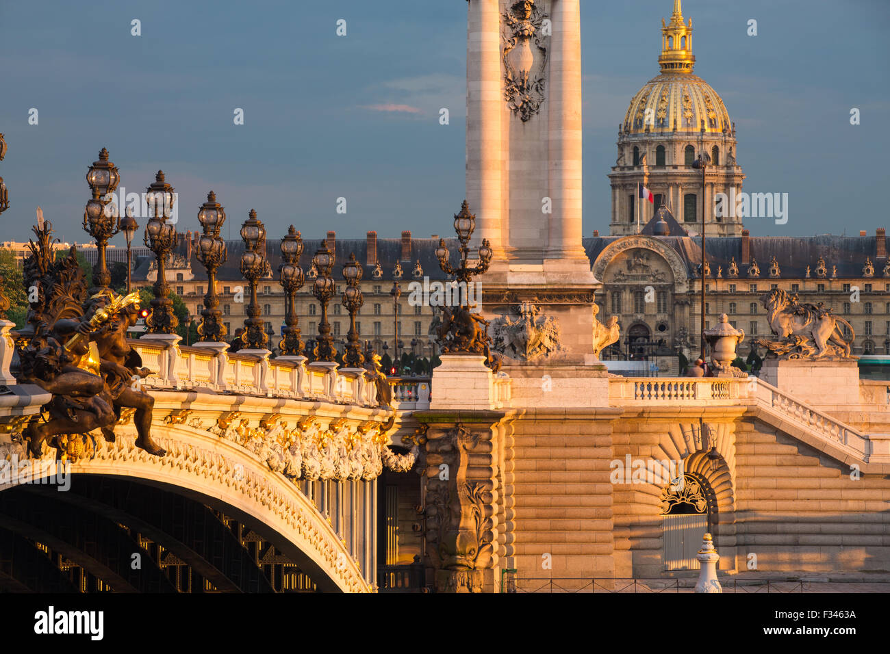 Pont Alexandre III, looking toward Les Invalides over the River Seine, Paris, France Stock Photo