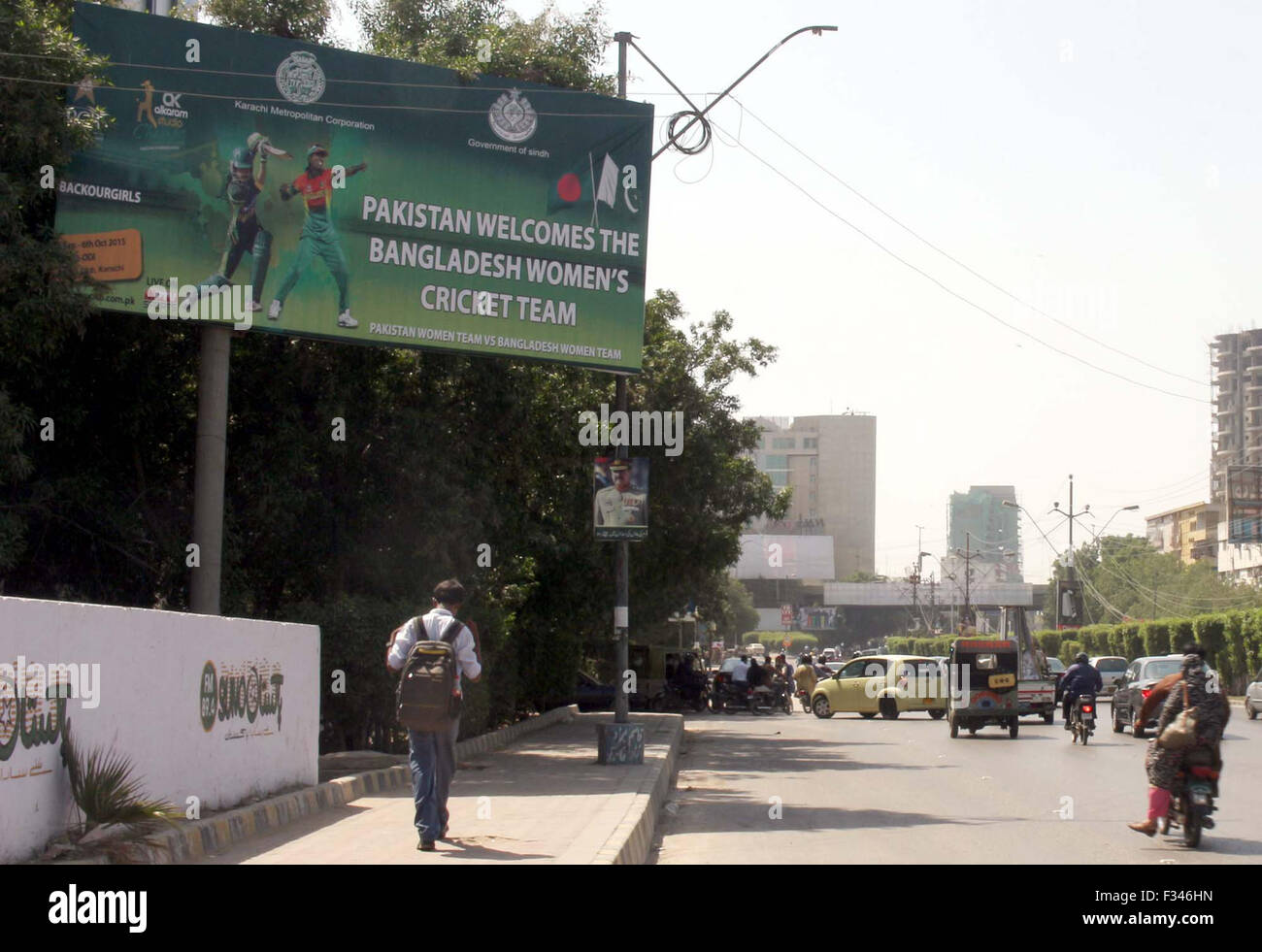 View Of Newly Installed Billboard For Public City Of Cricket Matches Between Pakistan Women Cricket Team And Bangladesh Women Cricket Team