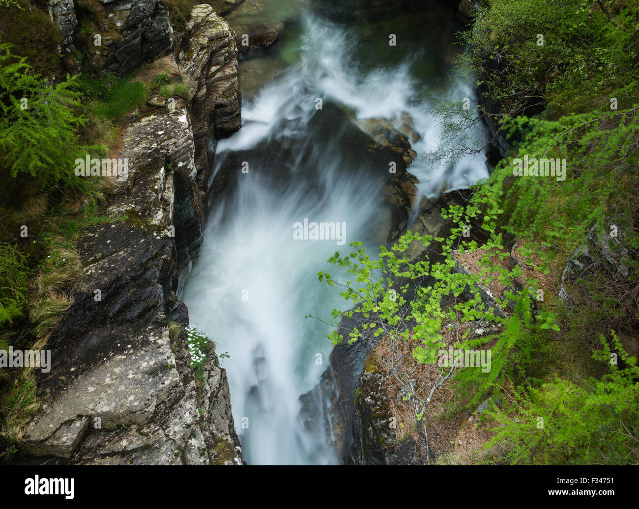 the Earl of Mar's Punch Bowl at the Lin of Quoich, Deeside, Aberdeenshire, Scotland, UK - Stock Image