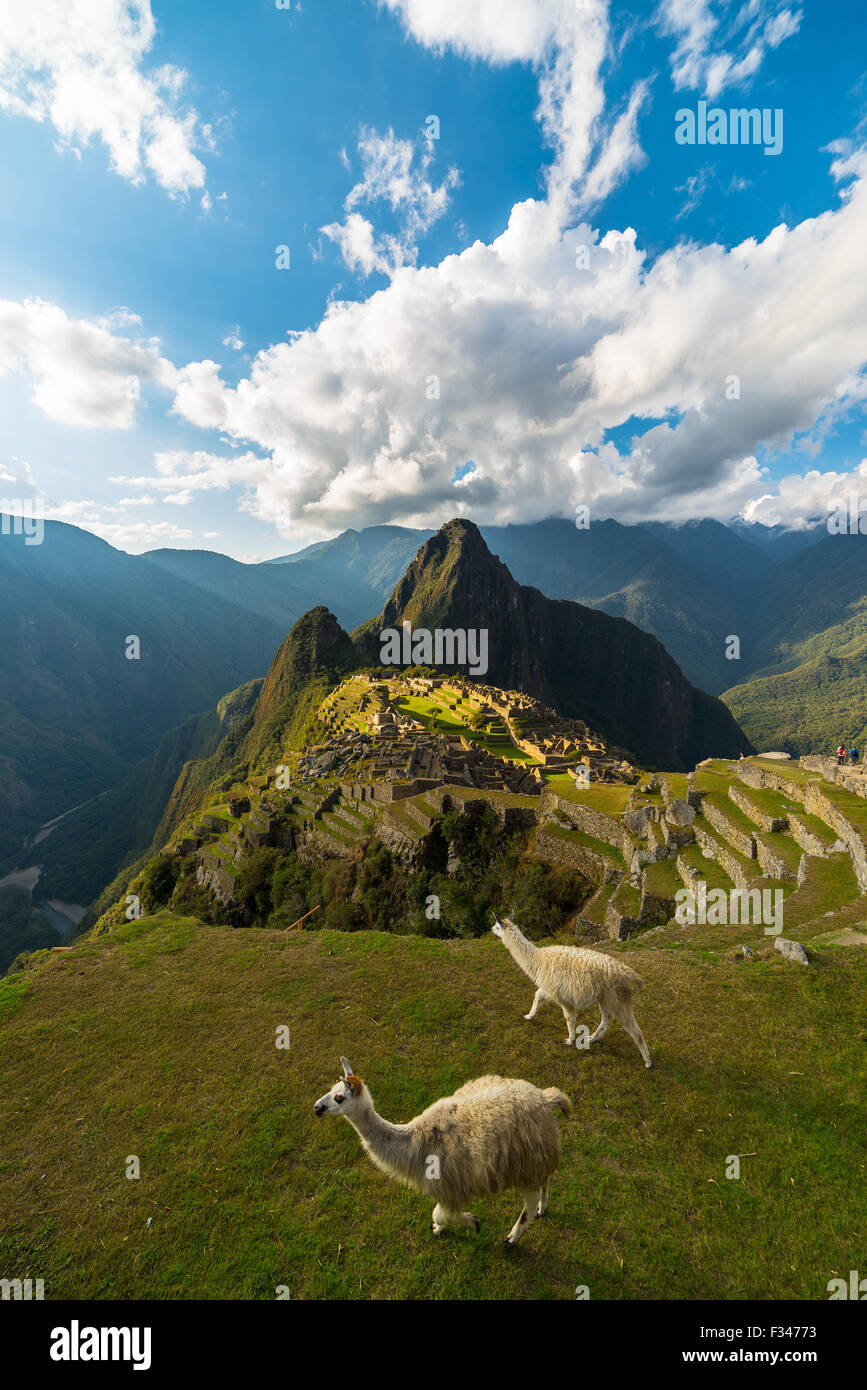 Machu Picchu illuminated by the last sunlight coming out from the opening clouds. Wide angle view from above with - Stock Image