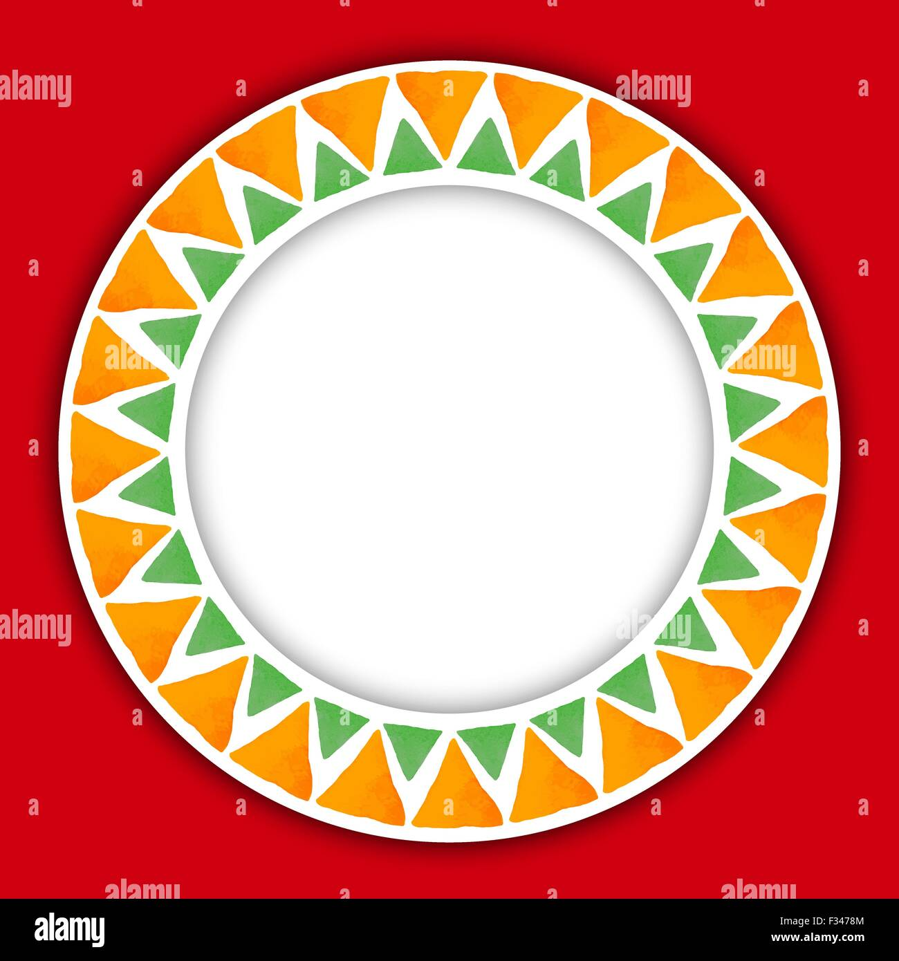 Circle paper sticker with watercolor round pattern of triangle on