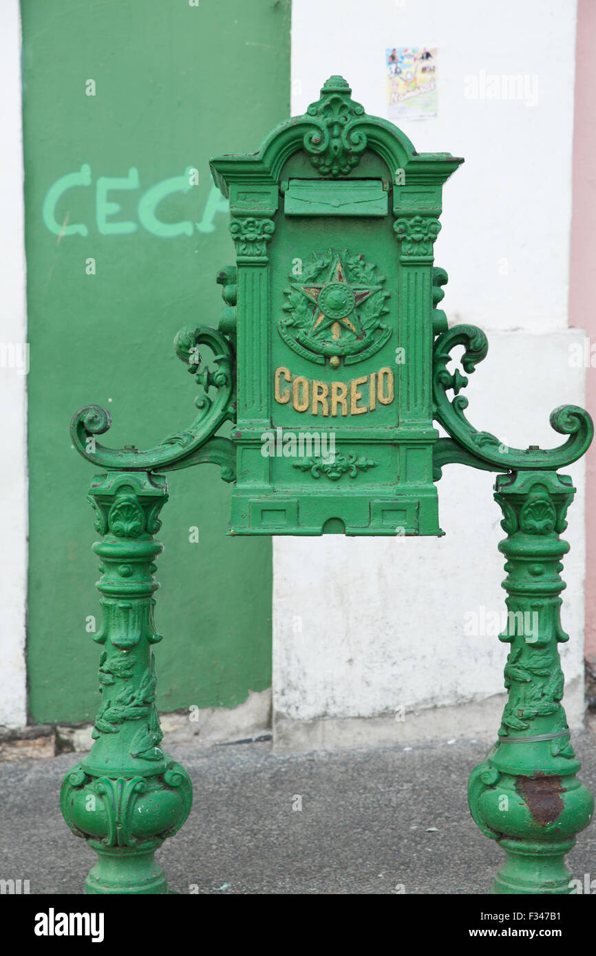 post box, the Old Town, Salvador, Brazil - Stock Image