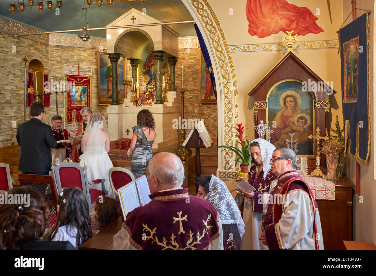 Wedding in the Armenian Church at Alfortville, Paris, France. Stock Photo