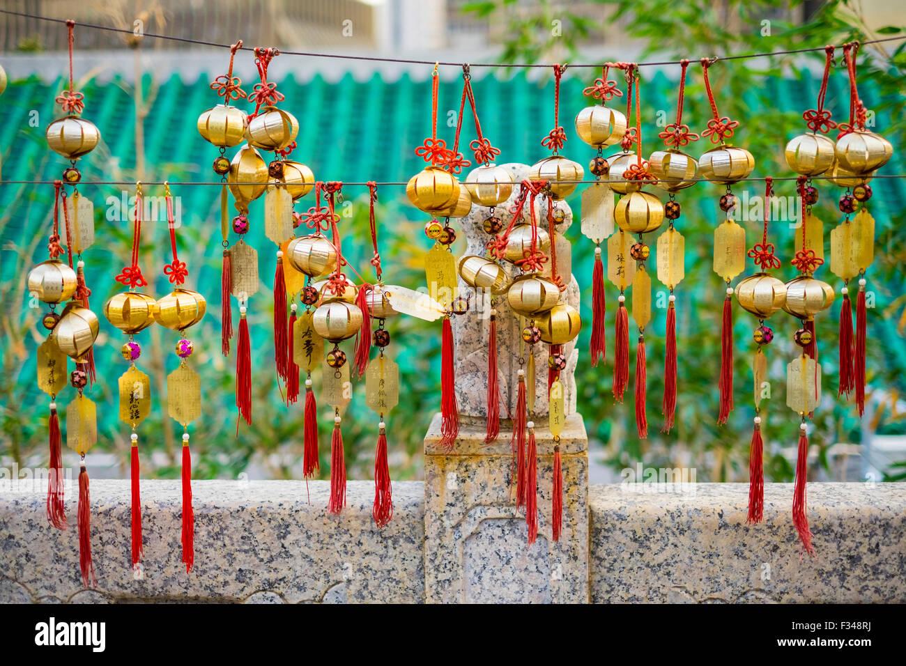 Blessing wind bells, prayer bells at Wong Tai Sin (Sik Sik Yuen) Temple, Hong Kong - Stock Image