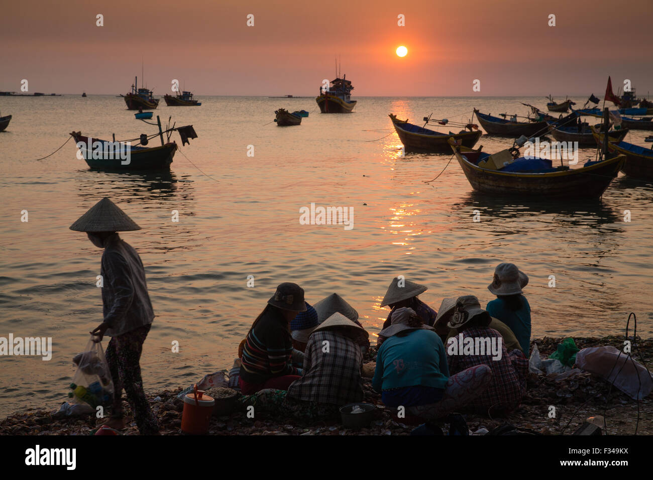 on the beach at Mũi Né fishing village at dusk, Bình Thuận Province, Vietnam Stock Photo