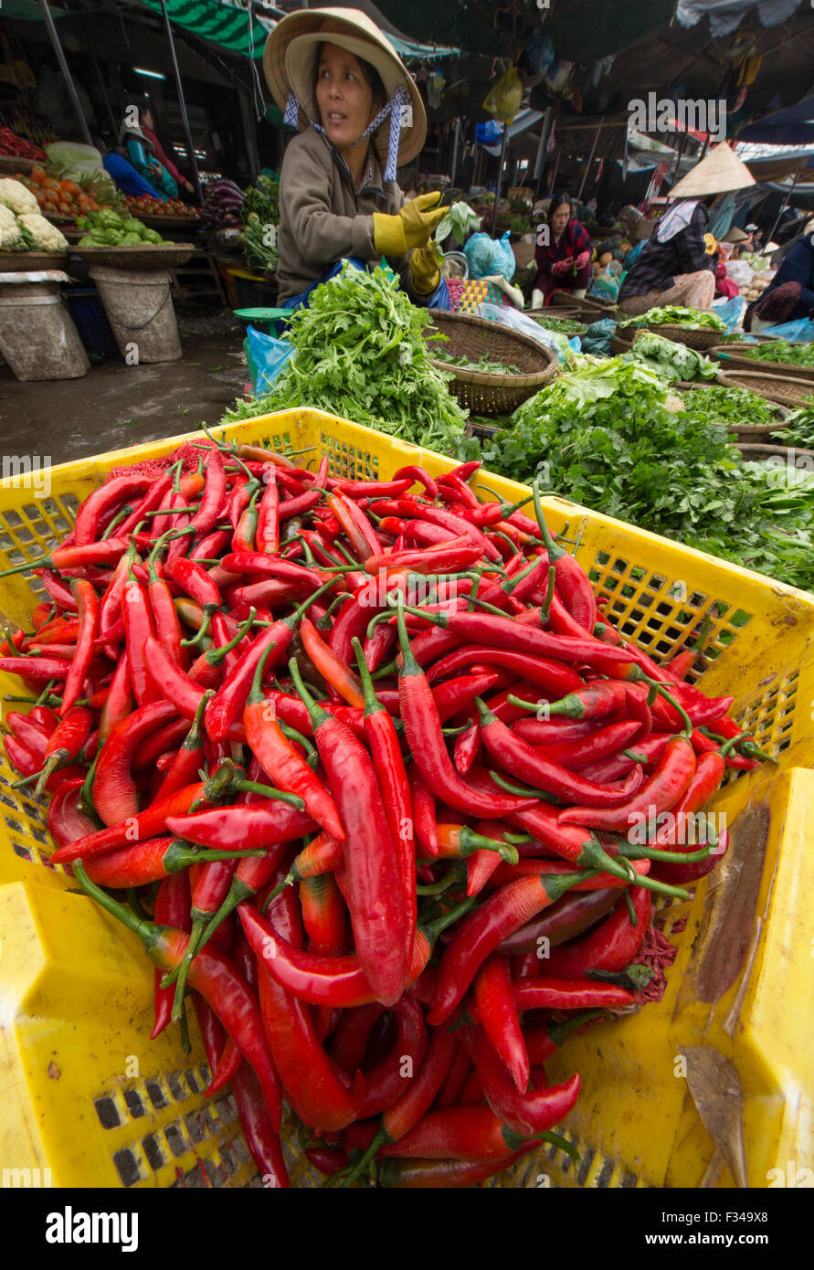 chillies in Dong Ba Market, Hue, Vietnam - Stock Image