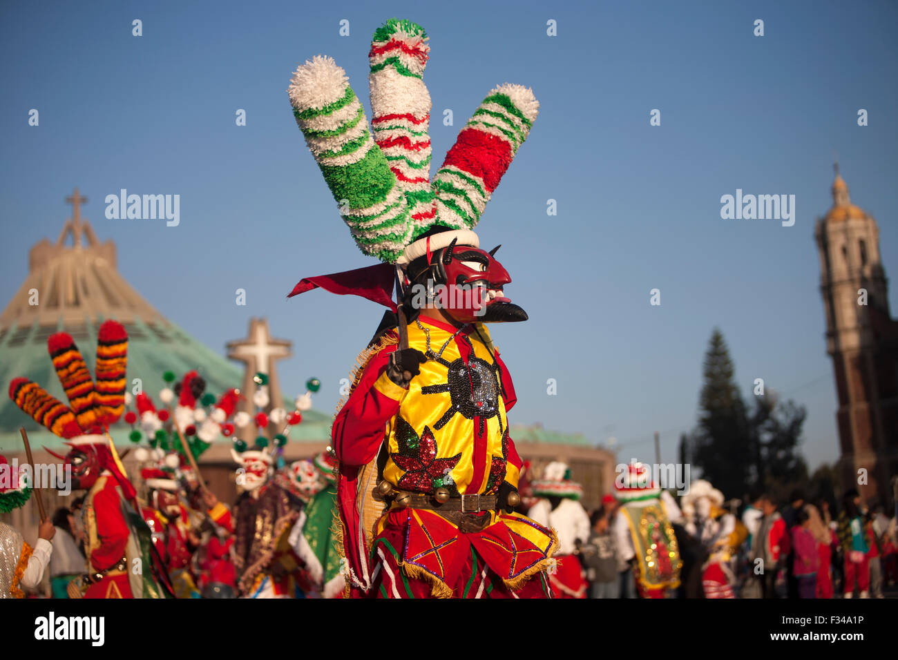 A dancer dressed as Saint James from Chocaman, Veracruz, Mexico. - Stock Image