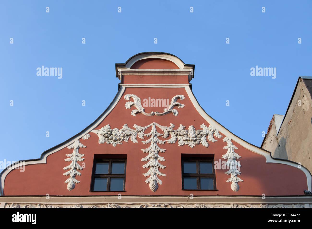 Historic house gable in Torun, Poland. - Stock Image