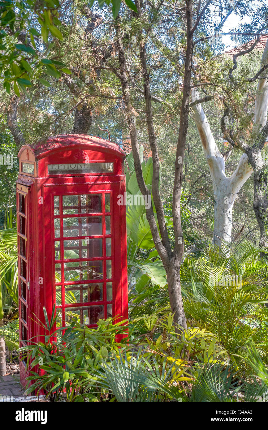Telephone Box In The Woods Gibraltar Stock Photo