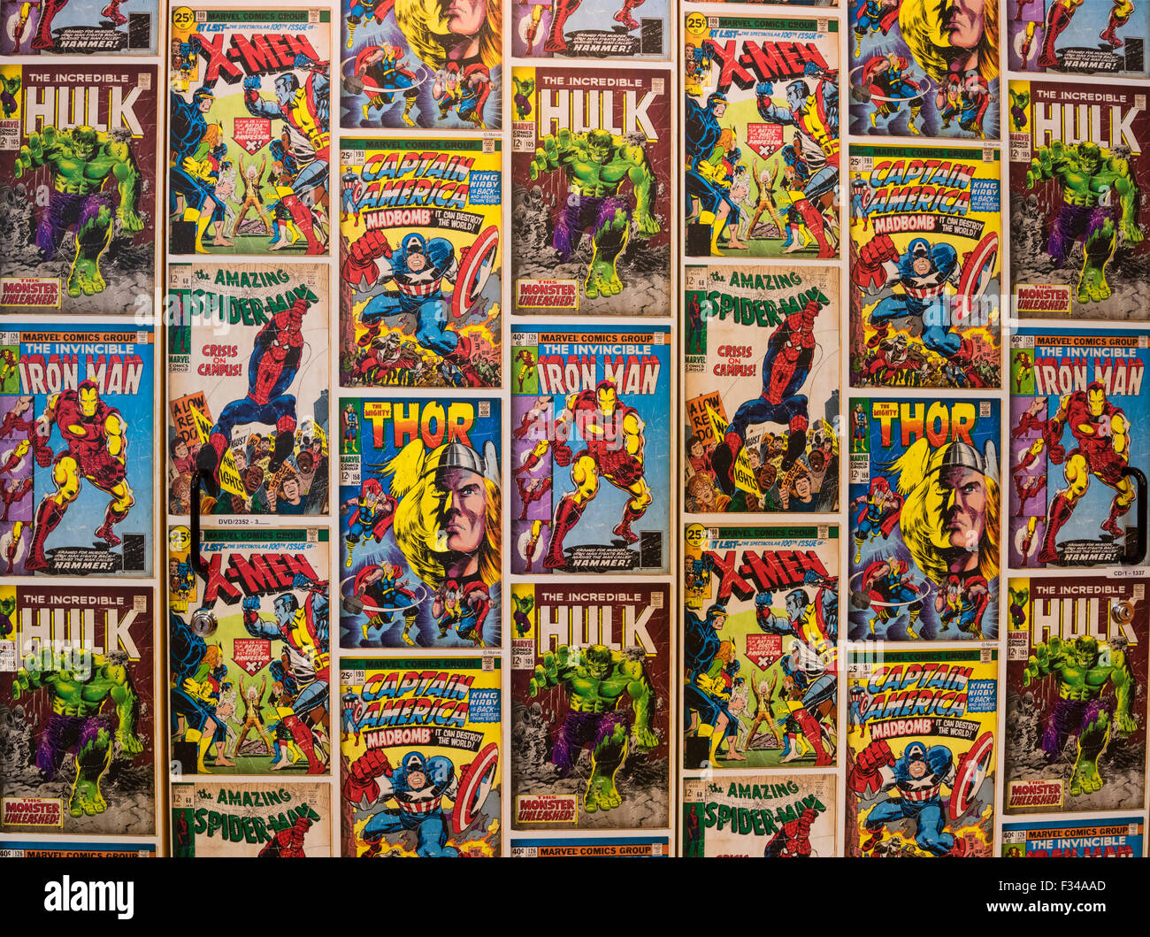 Wallpaper display created from covers of Marvel Comics featuring Marvel Comic super heroes. - Stock Image