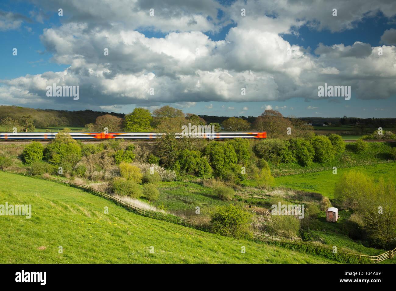 train passing through Milborne Wick, Somerset, England, UK - Stock Image