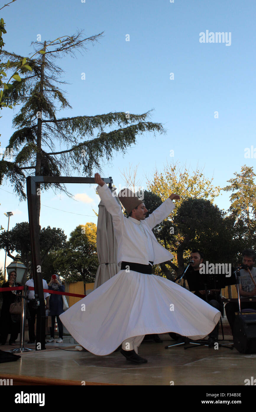 Istanbul, Turkey - September 17, 2015: The dance Whirling Dervishes is called Sema - Stock Image