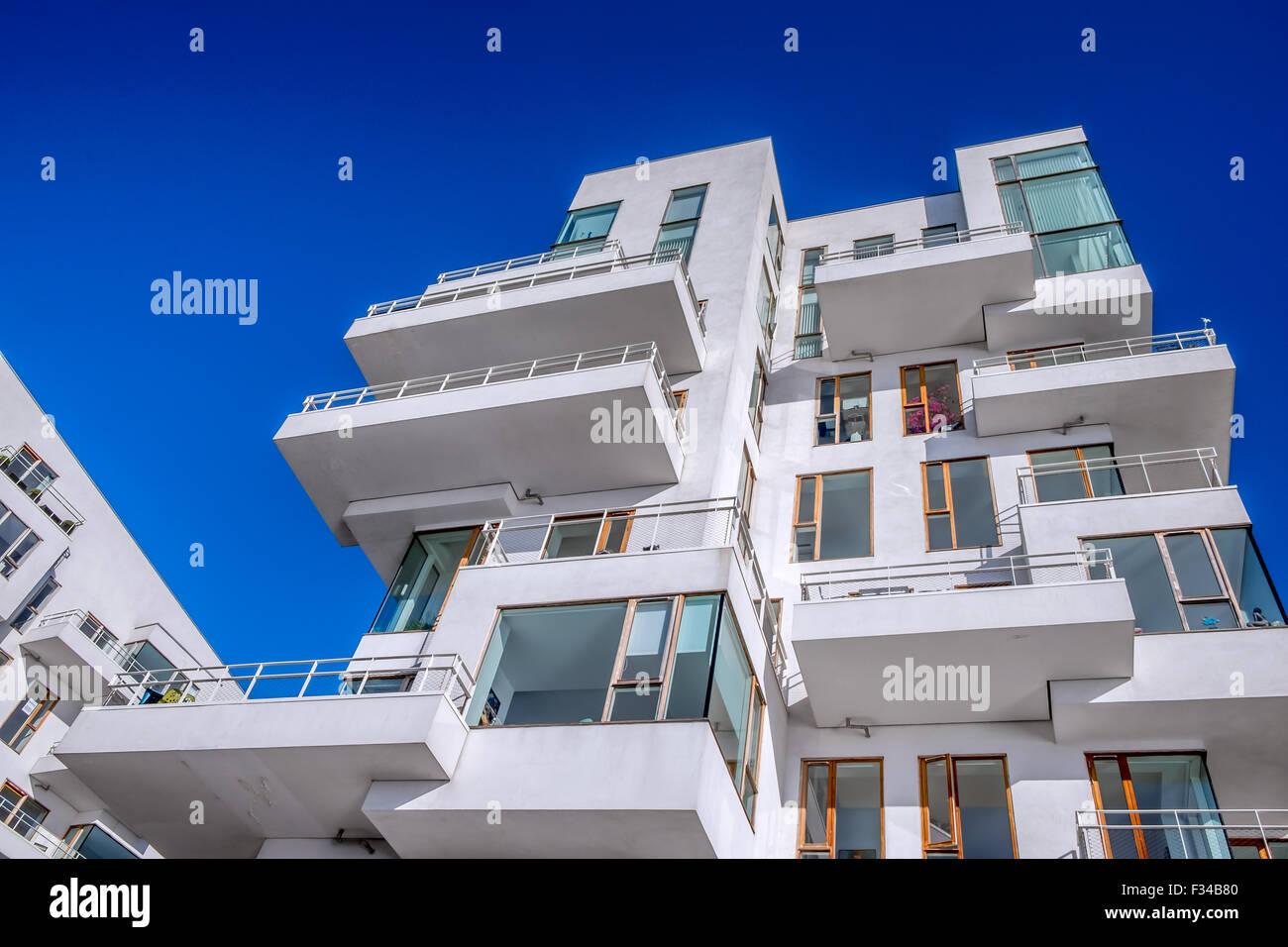 Havneholmen or Harbour Isle, modern city apartments at Copenhagen waterfront, Kalvebod Brygge, Copenhagen, Denmark - Stock Image