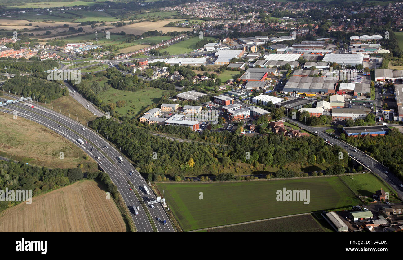 aerial view of Gildersome Spur Industrial Estate and Highcliffe  Ind Est, Morley, Leeds, UK - Stock Image