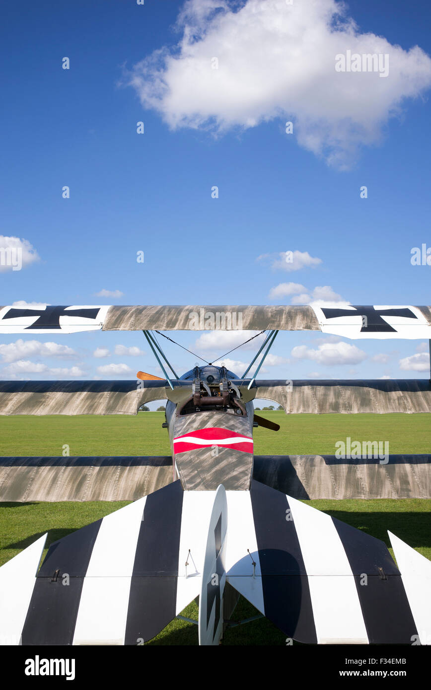 Fokker Dr.I Triplane replica at Sywell Aerodrome, Northampton, England - Stock Image