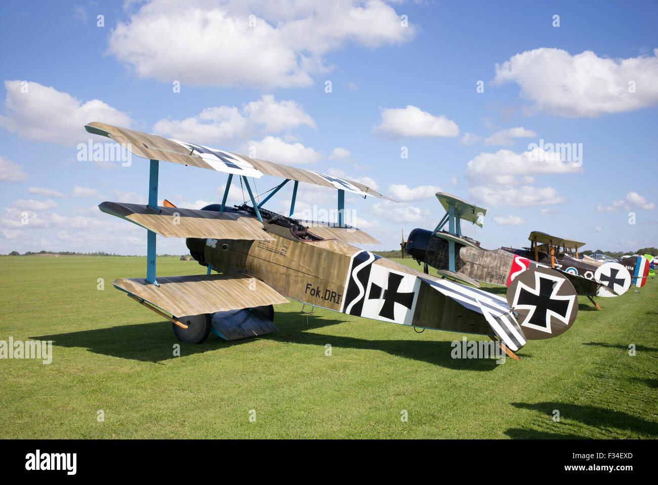 Fokker Dr.I Triplane replicas at Sywell Aerodrome, Northampton, England - Stock Image